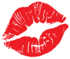 red lips forming a kiss