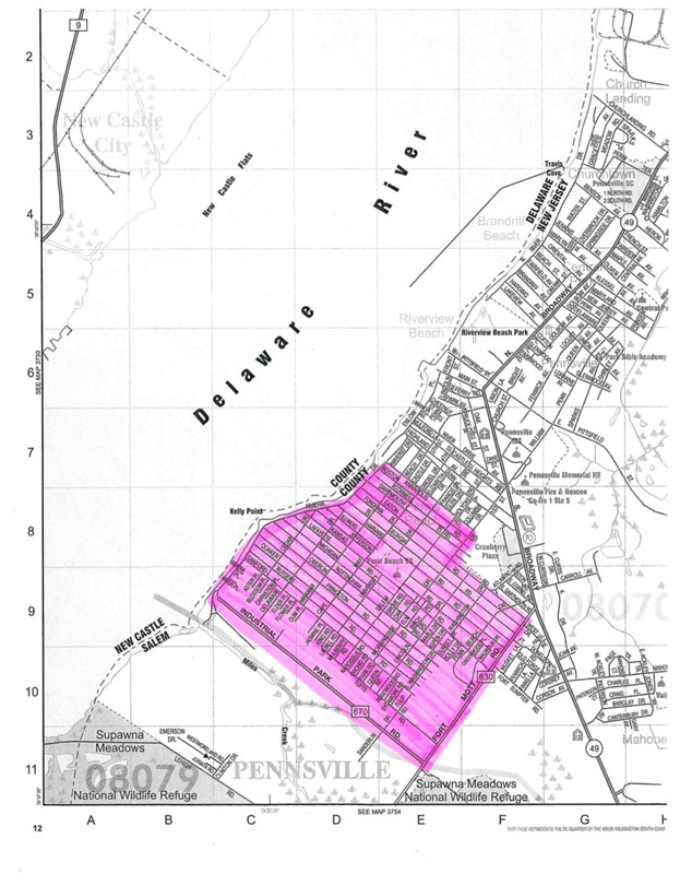 A map of Pennsville with highlighted mosquito spray route