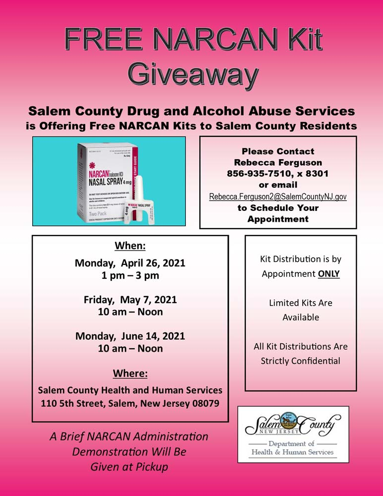 NARCAN kit monthly give away flier