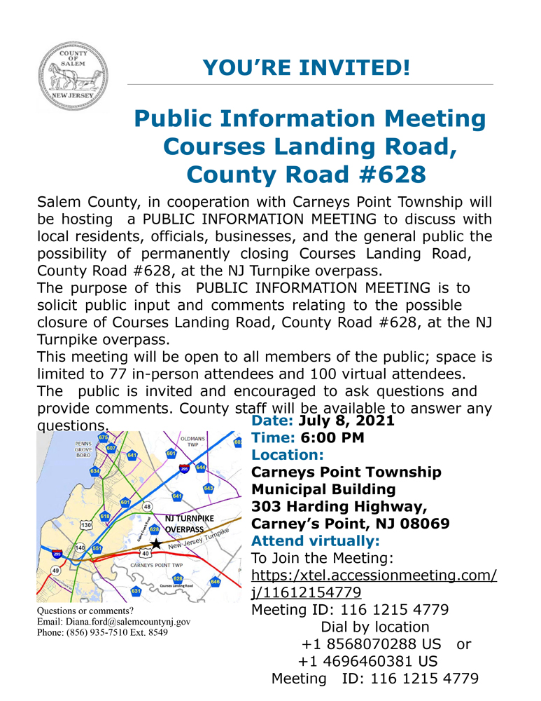 Public Information Meeting Courses Landing Road, County Road #628